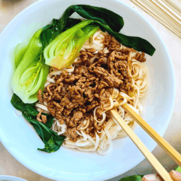 Chinese pork mince noodles