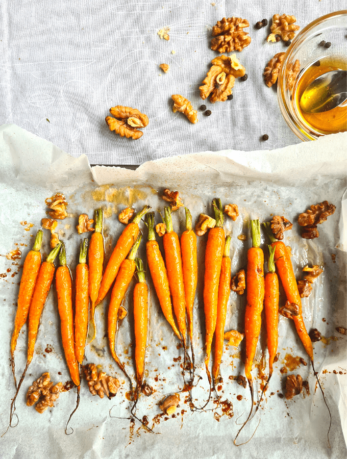 Honey glazed roasted carrots with walnuts are quick and simple to make