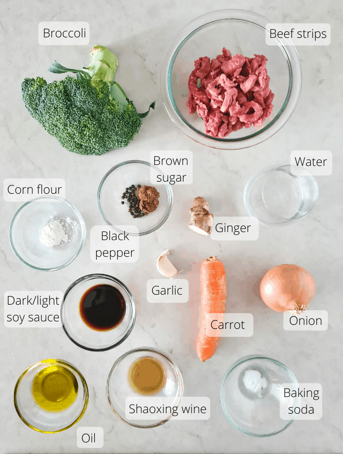 Ingredients to Chinese beef and vegetables stir fry