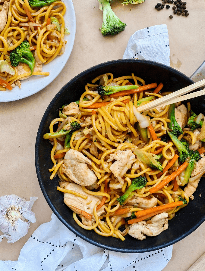 Healthy, quick and easy chicken noodle stir fry packed with lots of veggies! I love this budget-friendly meal that takes less than 30 minutes from prep to serving.