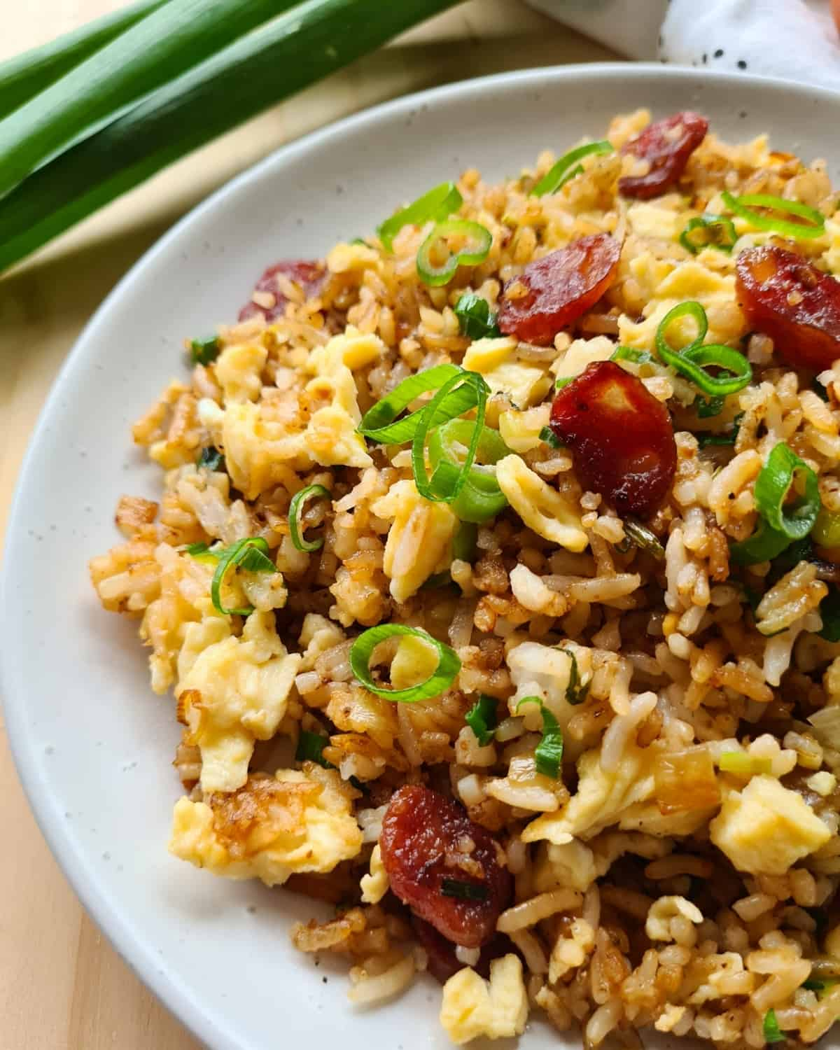 Close up side view of Chinese sausage fried rice on a white plate