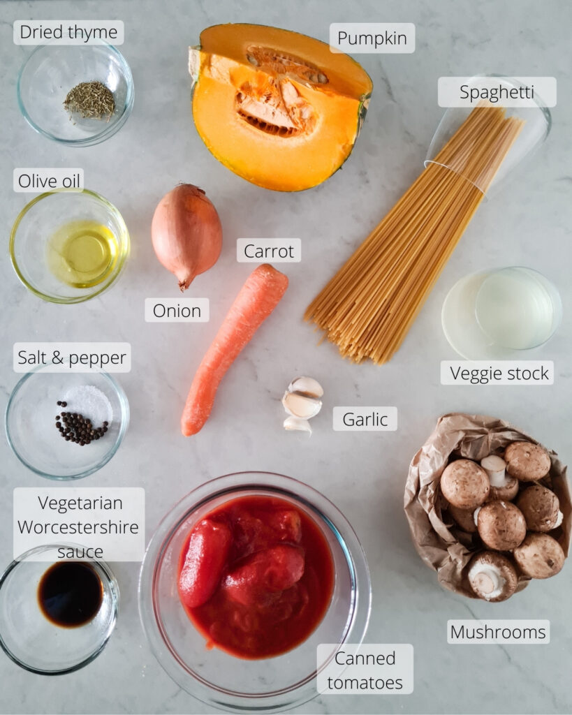 Ingredients required for spaghetti vegetarian bolognese