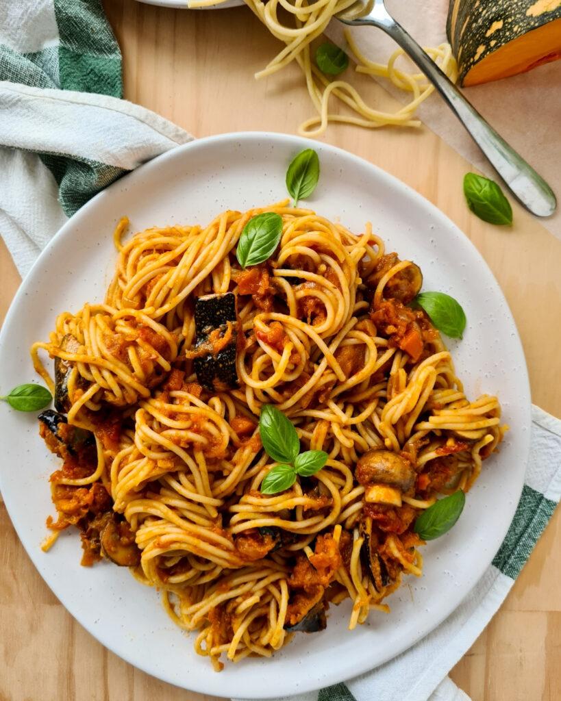 A plate of vegetarian spaghetti bolognese