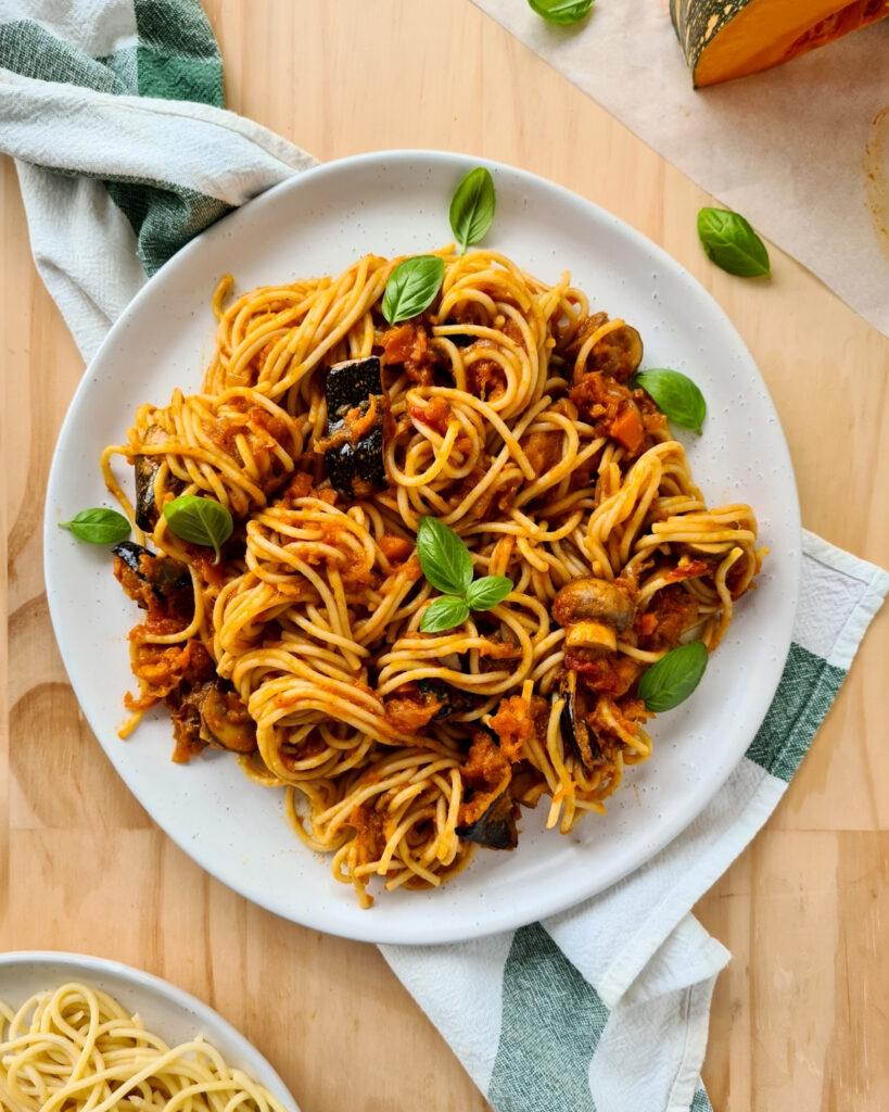 Large plate of spaghetti vegetarian bolognese