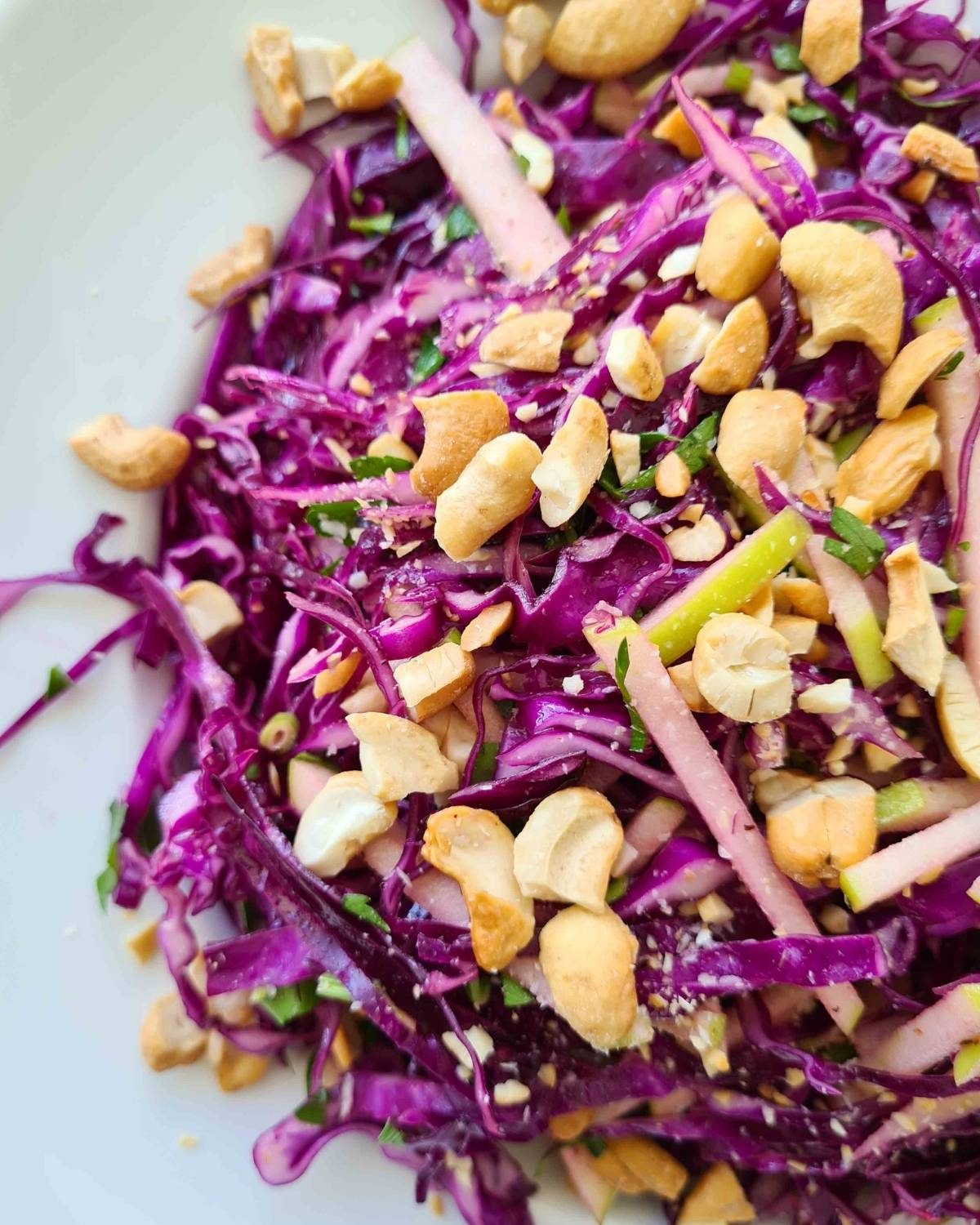 Close up side view of red cabbage salad