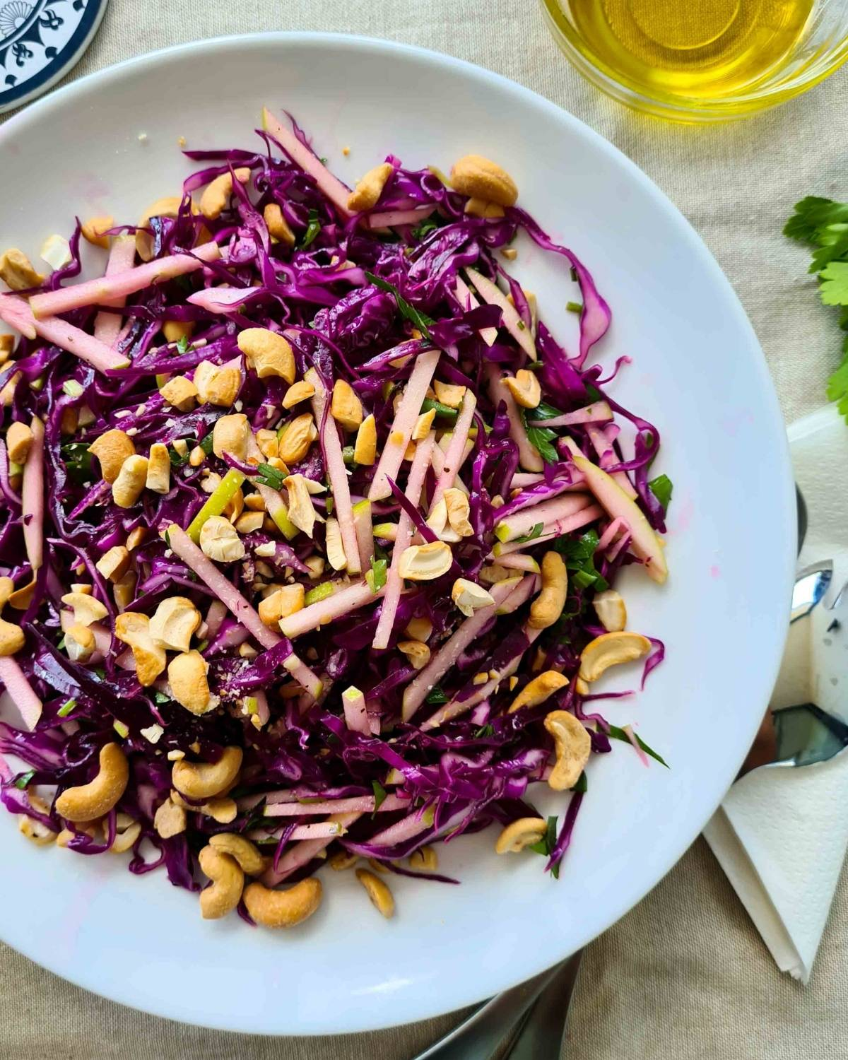 A large plate of this salad with lots of cashew nuts