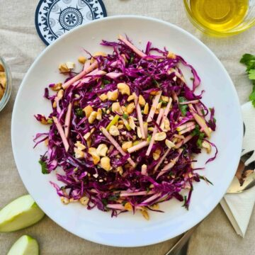Plateful of red cabbage salad