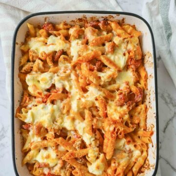 A tray of chicken and chorizo pasta bake straight out of the oven