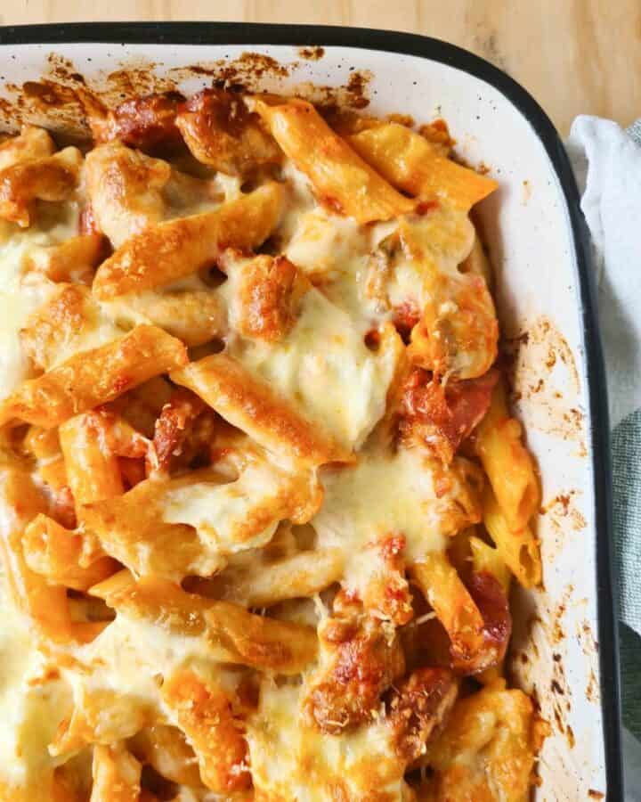 Close up of freshly baked chicken and chorizo pasta bake straight out of the oven.