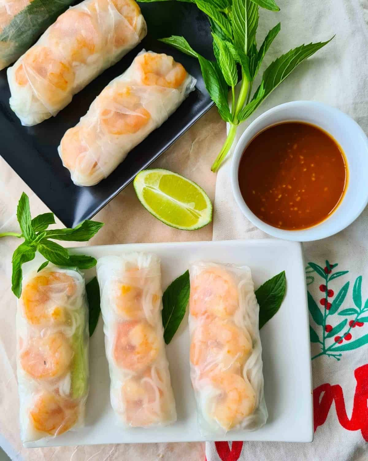 Rice paper rolls on 2 plates with dipping sauce