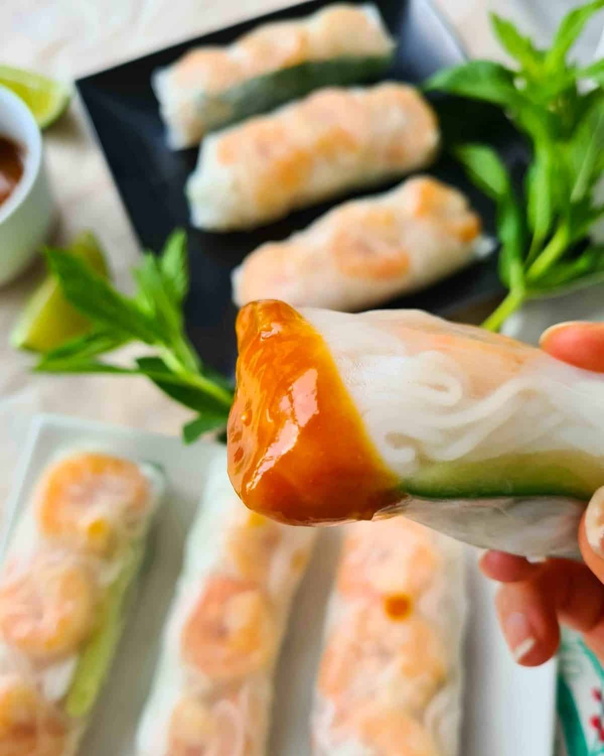 Close up of rice paper roll covered in dipping sauce