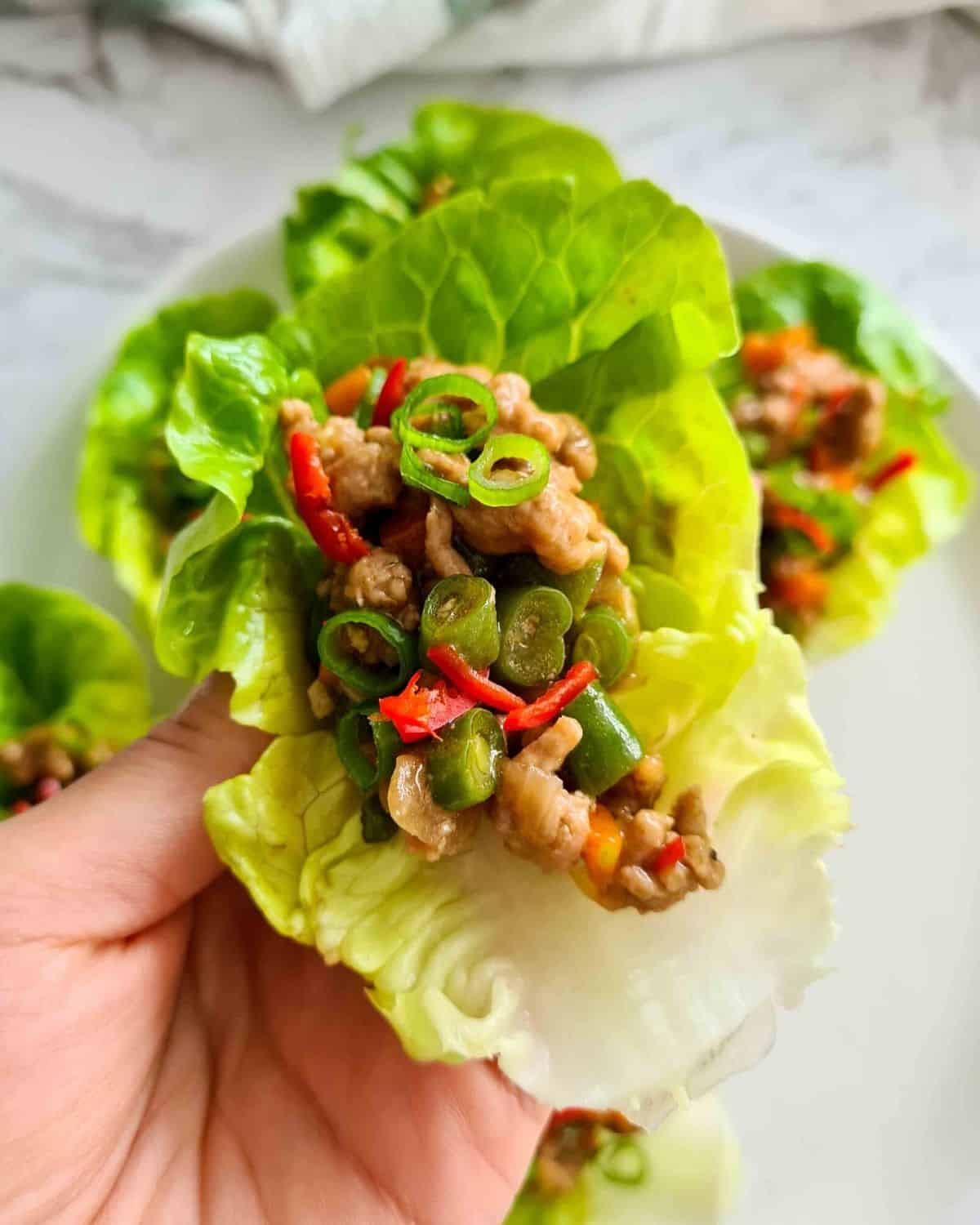 Close up of a pork and veggie lettuce wrap