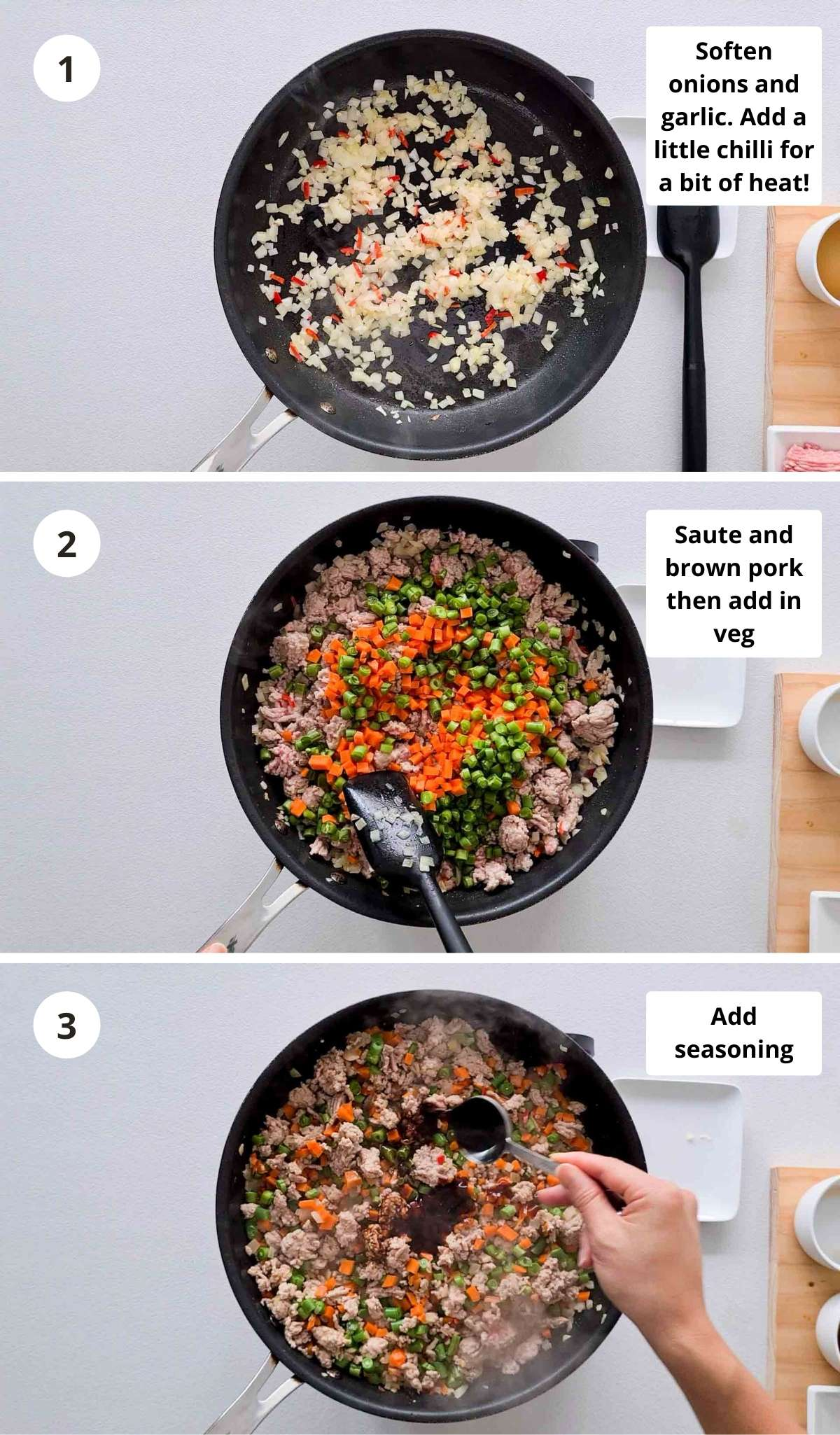 6 step by step collage of making this recipe