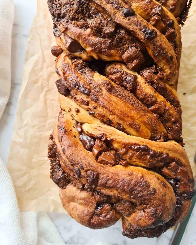 Close up loaf of baked babka