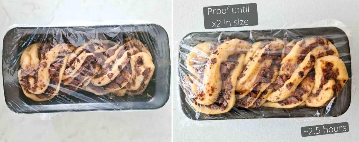 before and after proofing the babka