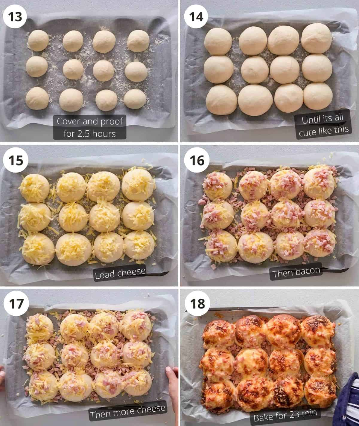 Proofing and baking step by step instructions