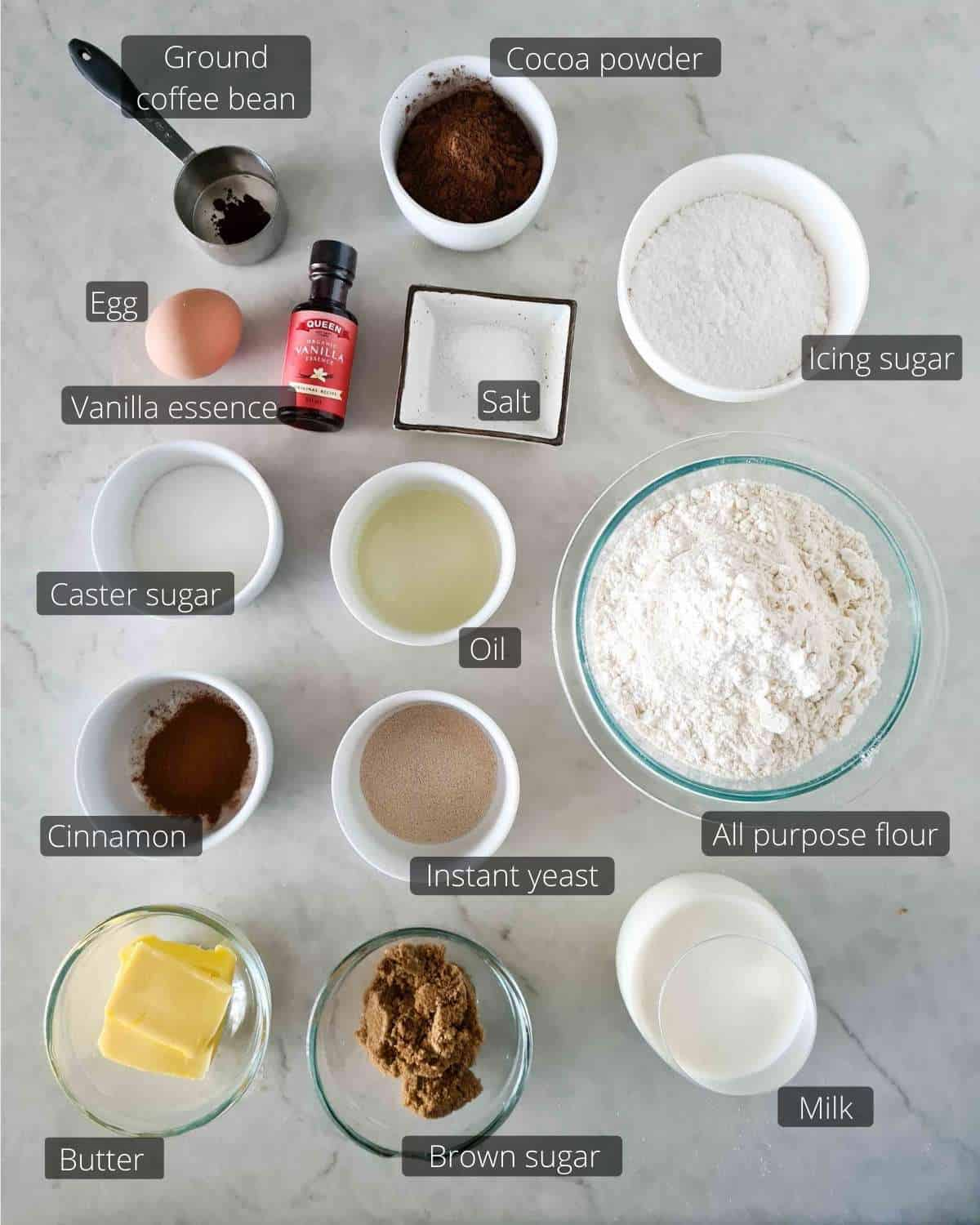 All the ingredients needed for this recipe, labled.