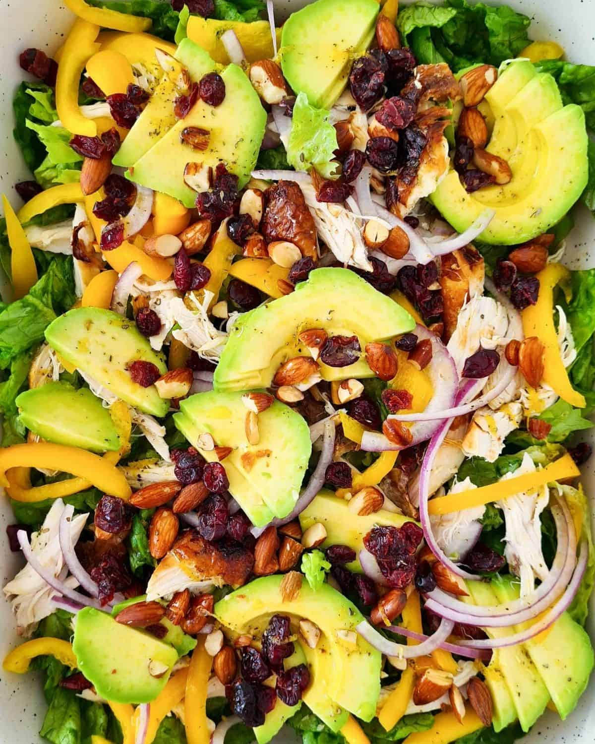 Close up, overhead view of this vibrant salad