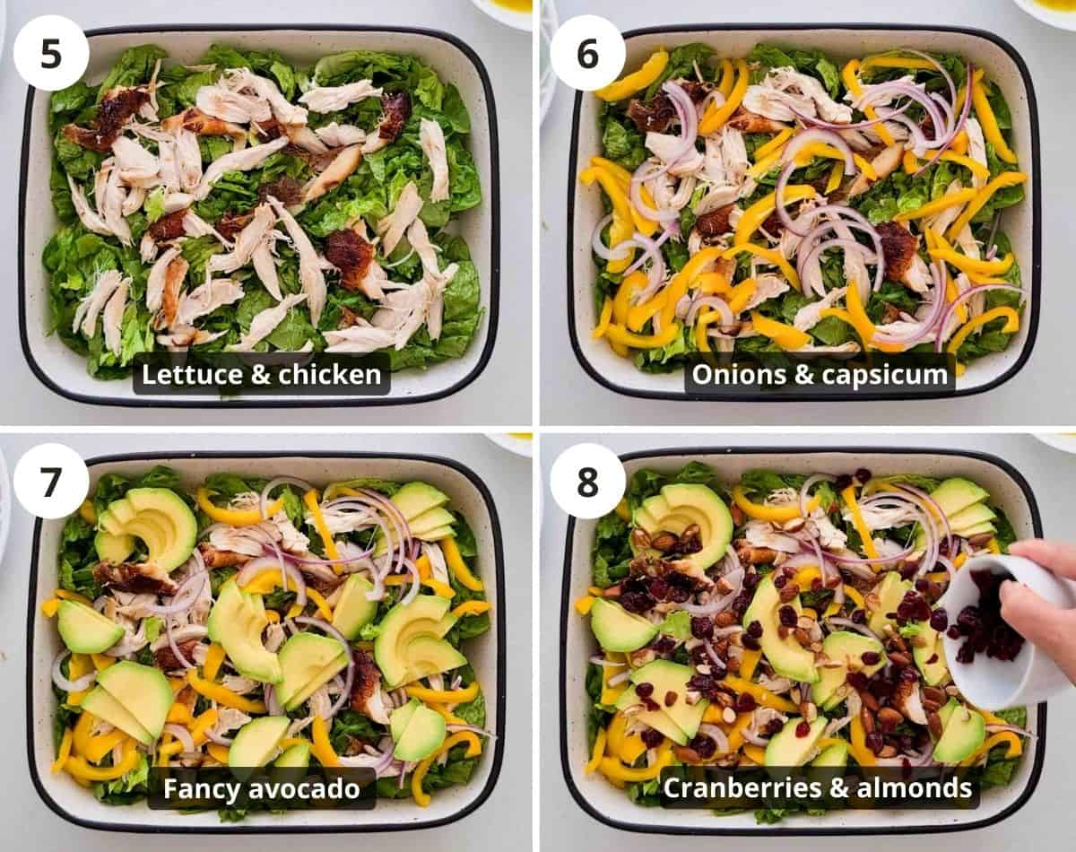 Step by step instructions showing how to put the salad together