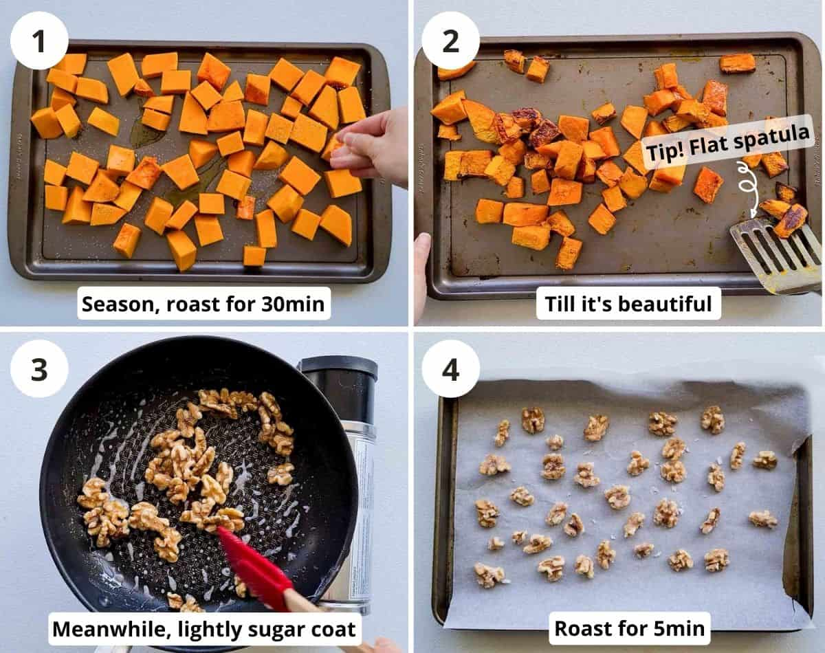 Step by step of how to roast pumpkins and candy walnuts