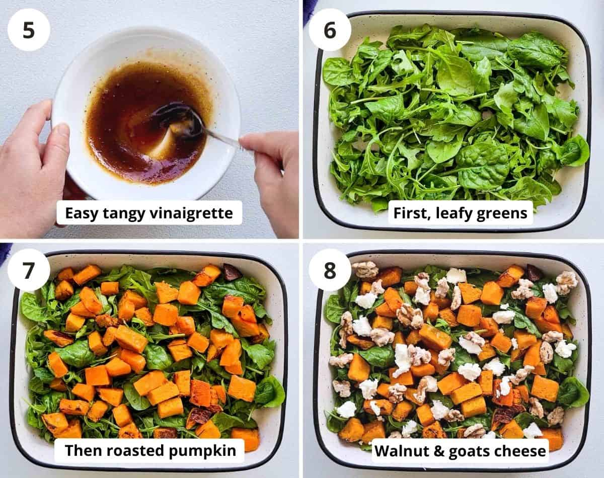 Step by step of making the dressing and putting the salad together nicely