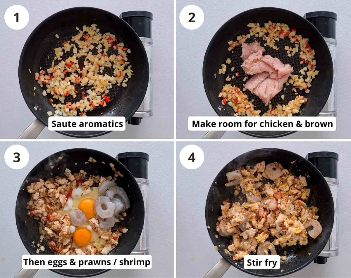 step by step instructions of making this fried rice part 1