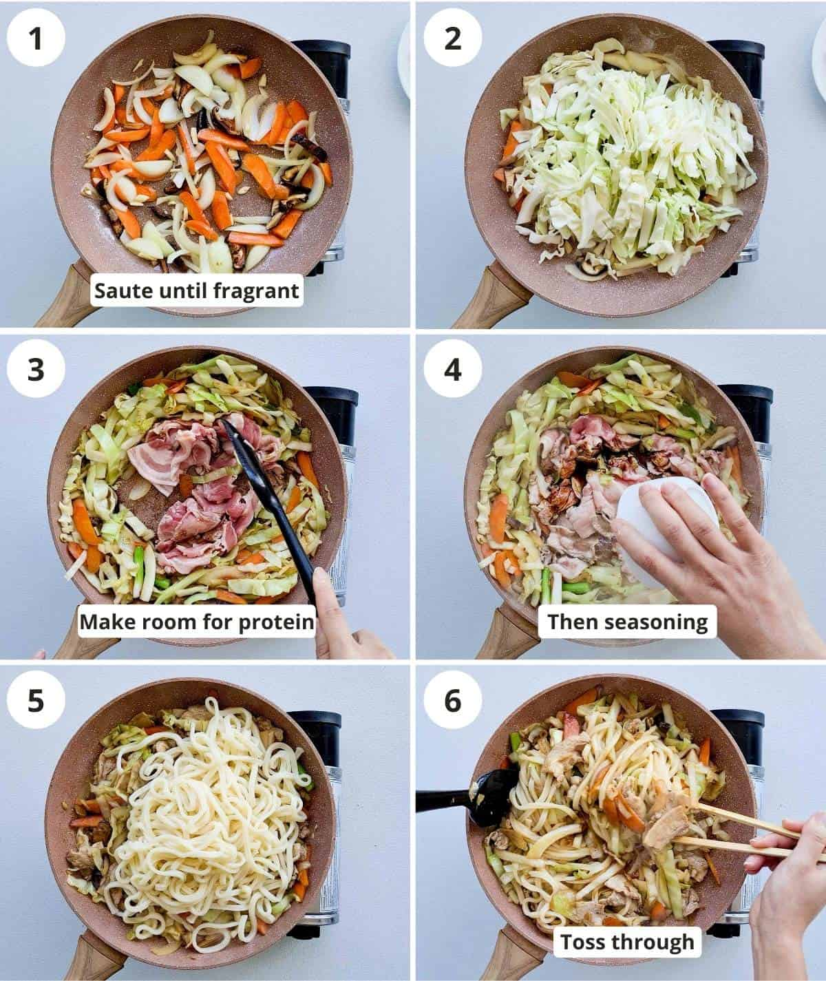 step by step instructions for cooking the yaki udon