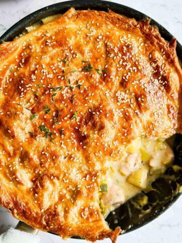 golden flaky chicken and leek pot pie