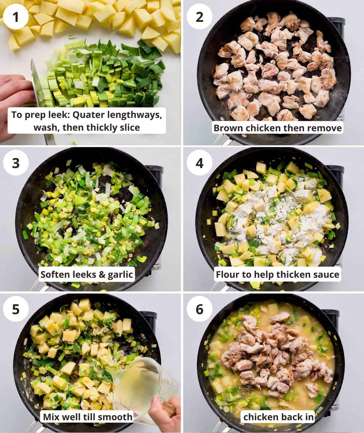 6 step by step instructions collage for making the chicken pie filling