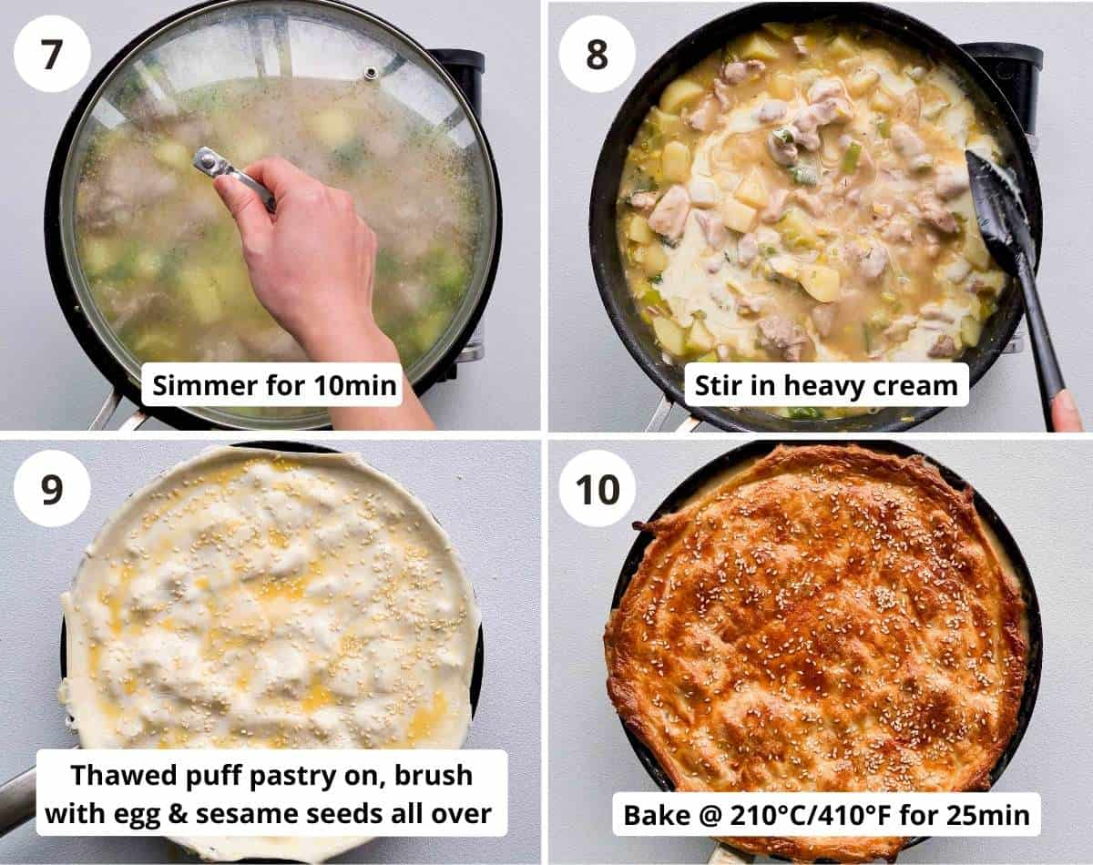 4 step by step instructions collage on baking the pie