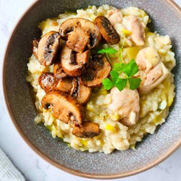 A bowl of creamy risotto