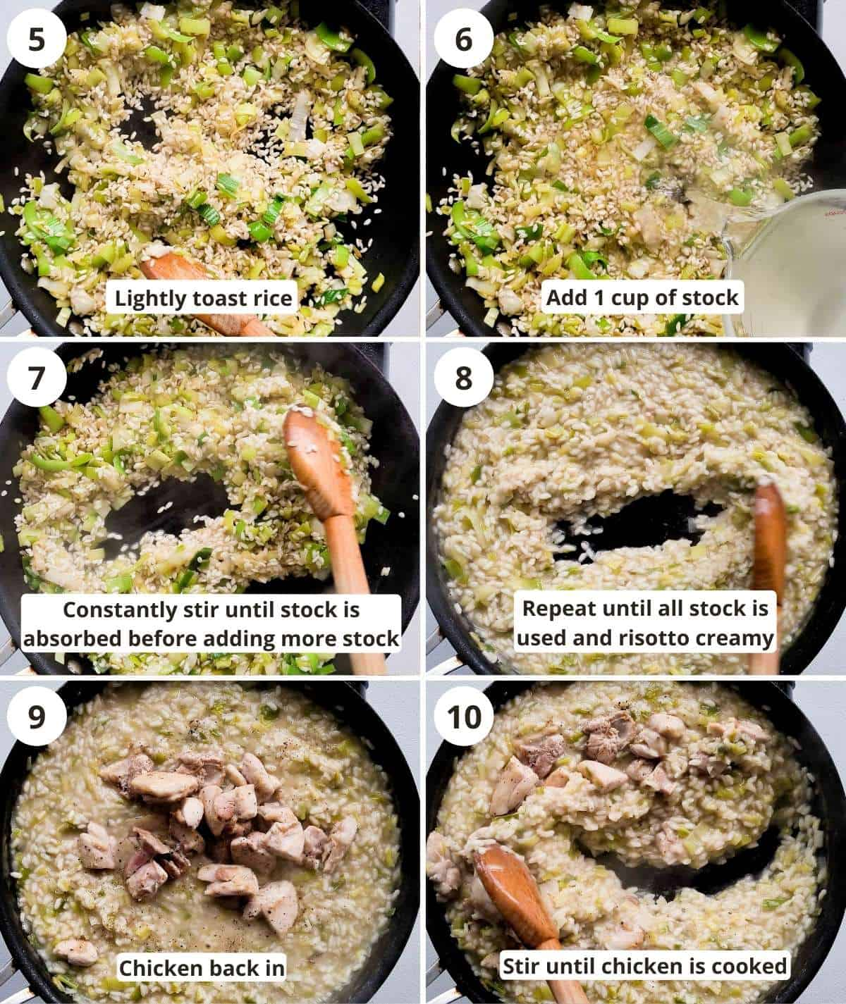 A 6 step collage of making creamy risotto