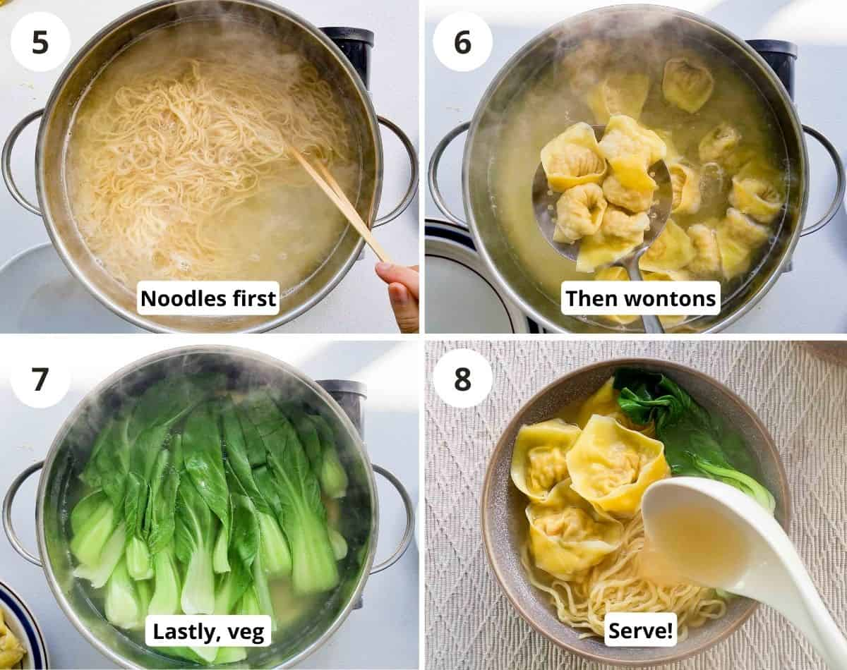 4 step carousel of cooking noodles, wontons and assembling a bowl to serve