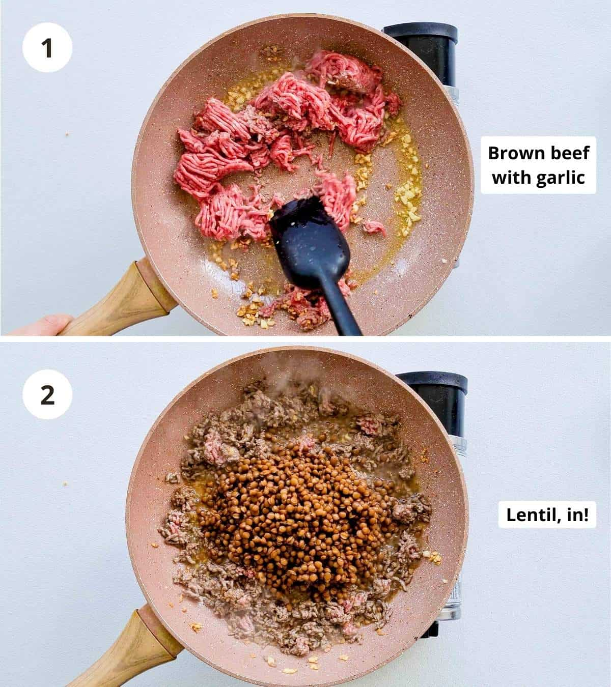 2 step cooking instructions collage to make this bolognese