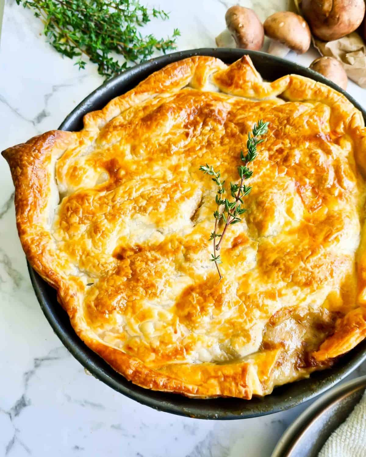 Freshly baked, golden and flaky chicken pot pie
