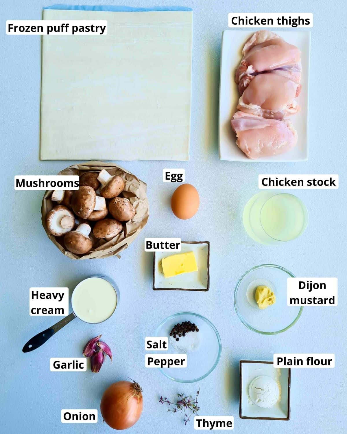 All the ingredients required to make this recipe, labeled