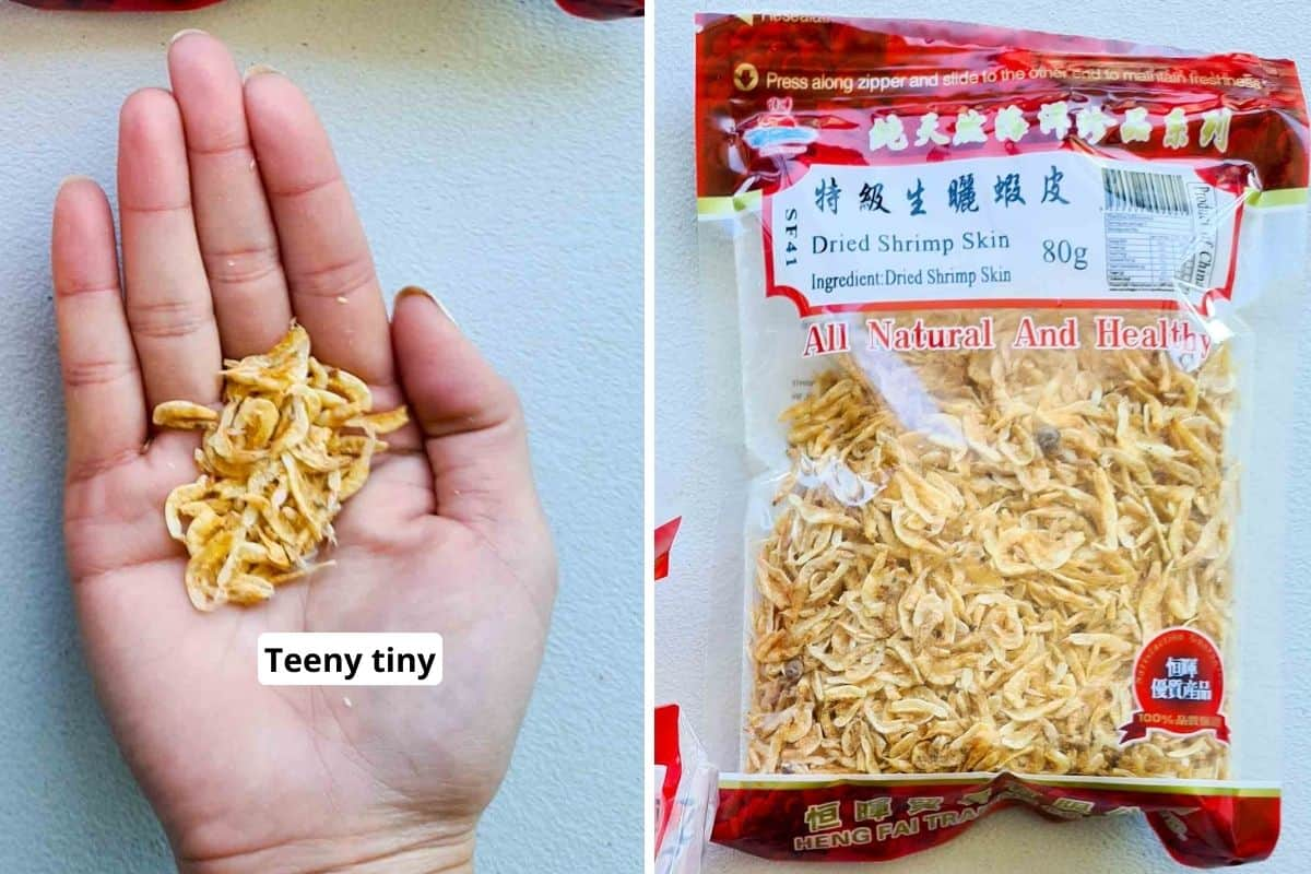 Dried shrimp skin in packaging and inside a palm