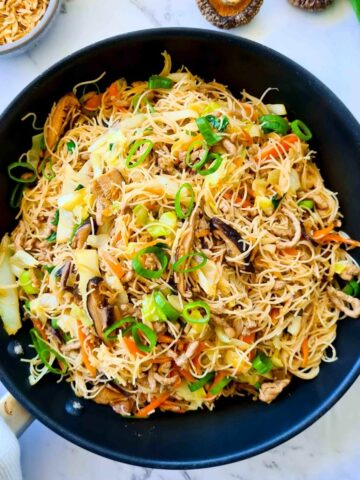 a pan full of stir fried vermicelli noodles