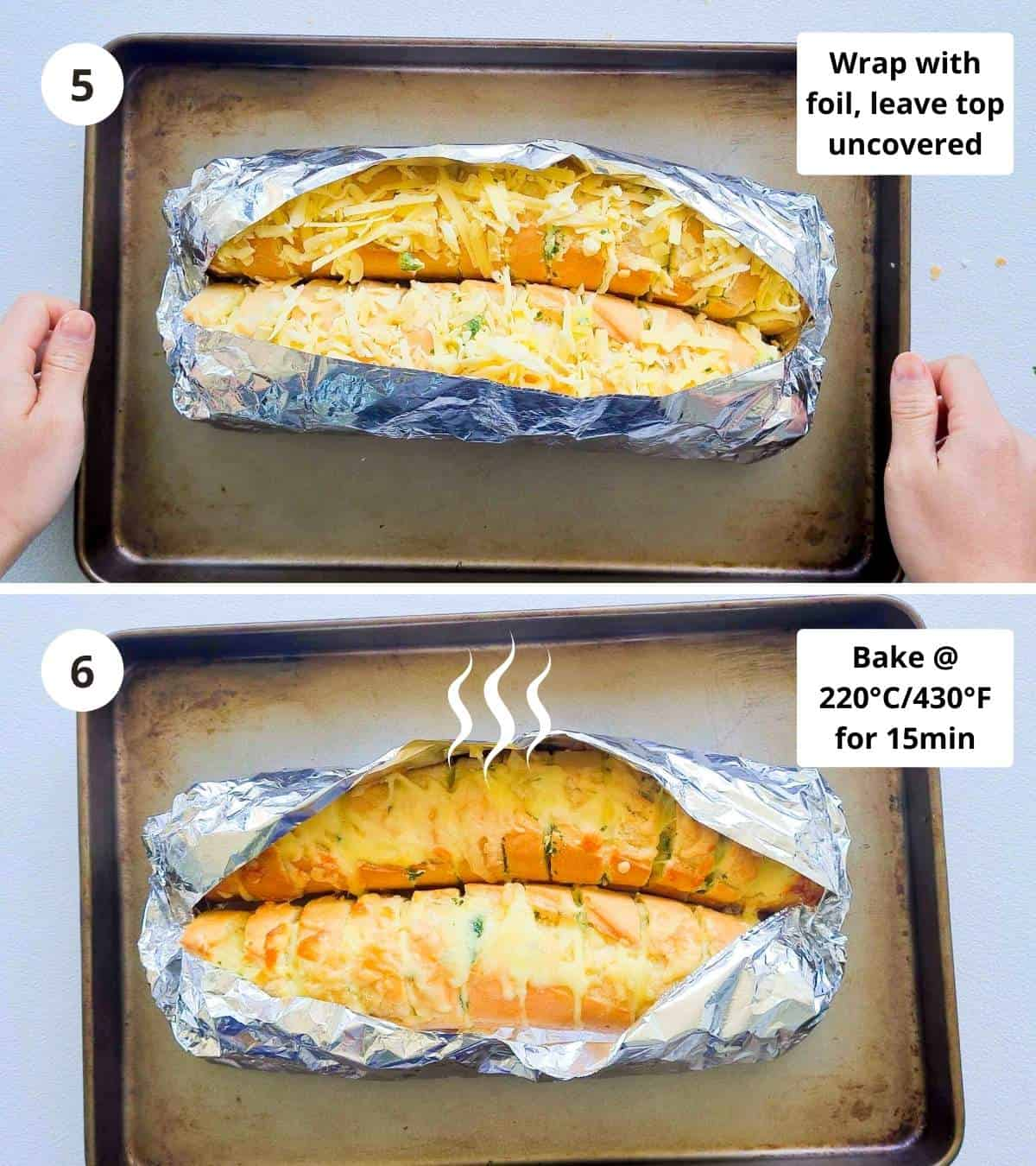 2 step collage of how to make a cheese stuffed garlic bread from start to finish part 3