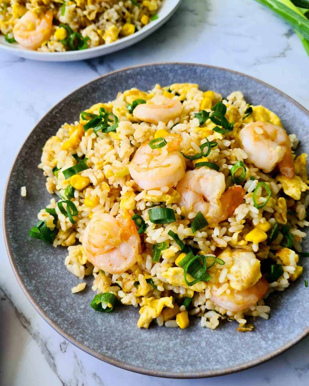 Side view of a plate of prawn/shrimp fried rice