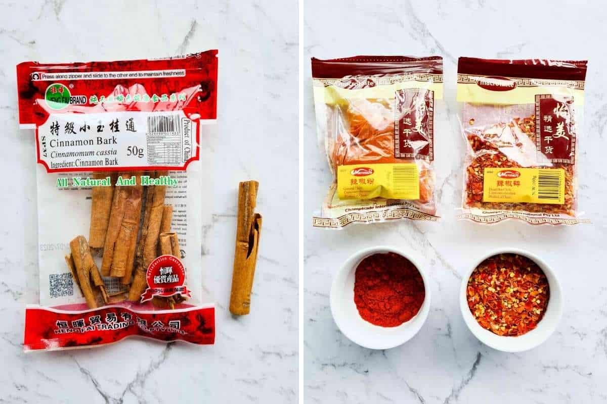 Chinese cinnamon barks and chillis